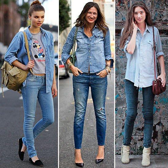 Padukan Kemeja Denim dengan Celana Jeans