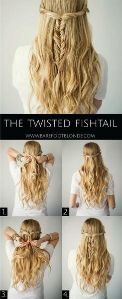 rambut kepang gaya fishtail