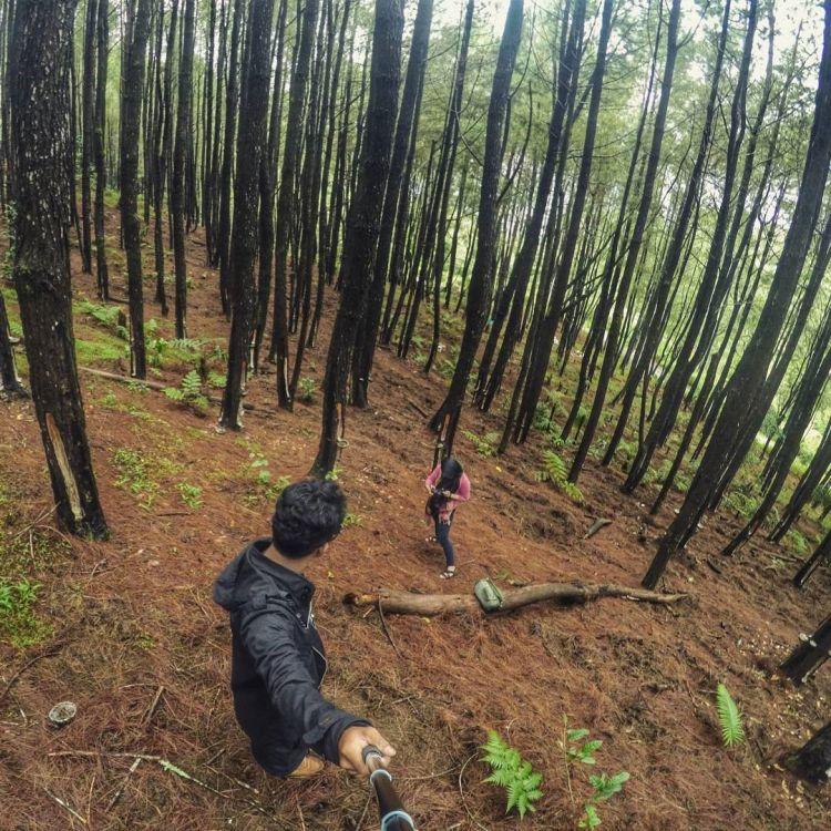 gaya selfie kekinian di hutan