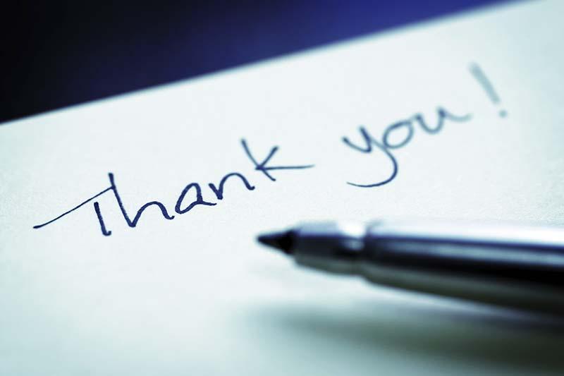 Menunjukkan rasa terima kasih