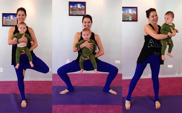 Ibu berolahraga bersama anak
