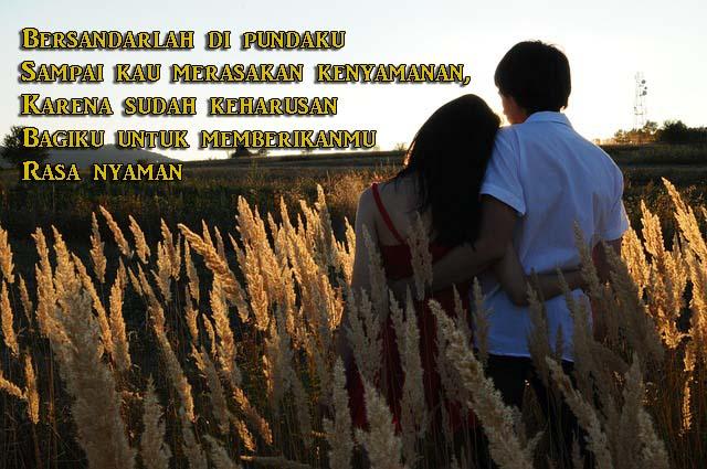 Gambar Kata Romantis, Bersandar di Pundak Sang Kekasih