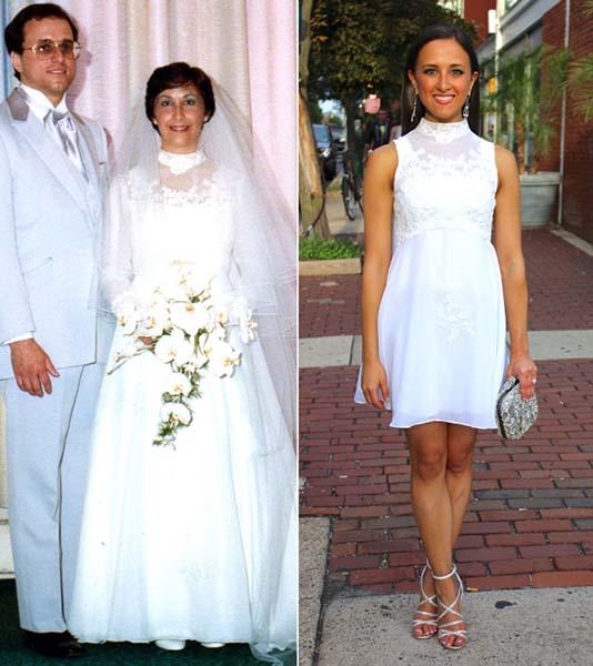 Menggunakan baju pernikahan ibumu